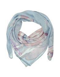 Vivienne Westwood Light Blue And Pink Foul Flash Orbs Print Silk Wrap