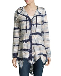 Xcvi Katarina Tie Dye Hooded Zip Front Cardigan Sonar Timber Wolf