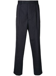Lc23 Pinstriped Tapered Trousers Blue