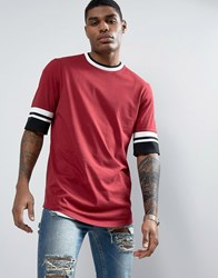 Asos Longline T Shirt In Red With Half Sleeve And Tipped Rib Cuff And Neck Red