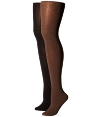 Hue Heat Temp Tights 2 Pack Espresso Heather Black Hose Brown