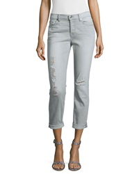 7 For All Mankind Josefina Slim Boyfriend Destroyed Jeans Distressed Gray