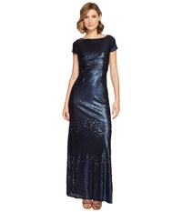 Adrianna Papell Short Sleeve Sequin T Shirt Gown Midnight Women's Dress Navy