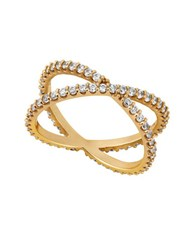 Lucky Brand Holiday Delicates Goldtone Sterling Silver Pave Criss Cross Ring
