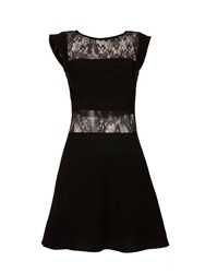 Morgan Crepe And Lace Flared Dress Black