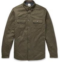 Faherty Reversible Quilted Cotton Twill And Brushed Cotton Jacquard Overshirt Army Green
