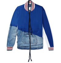 Greg Lauren Panelled Distressed Denim And Tech Jersey Bomber Jacket Blue