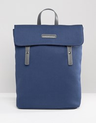Smith And Canova Canvas Flap Over Backpack With Leather Trims Navy