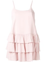 Twin Set Ruffled Hem Tank Top Pink Purple