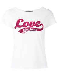 Love Moschino Sequinned Logo Patch T Shirt White