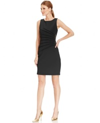 Ivanka Trump Pleated Zipper Trim Scuba Sheath Dress Black