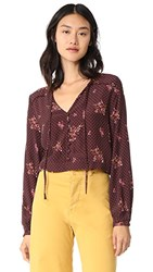 Knot Sisters Willow Top Burgundy Canyon Floral