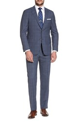 Hickey Freeman Classic B Fit Plaid Wool Suit Blue