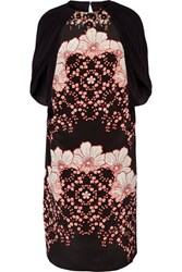 Biyan Lasla Embellished Printed Silk Satin And Crepe De Chine Dress Black