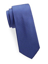 Saks Fifth Avenue Made In Italy Weave Silk Tie Blue