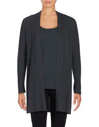 Eileen Fisher Rib Knit Open Front Cardigan Graphite
