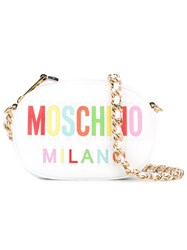 Moschino Oval Logo Crossbody Bag Women Calf Leather One Size White