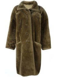 Versace Vintage Oversized Faux Fur Coat Brown