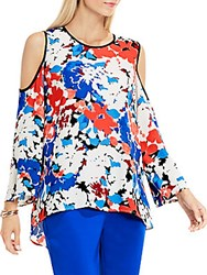 Vince Camuto Bell Sleeve Nautical Bloom Cold Shoulder Blouse Antique White