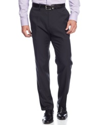Kenneth Cole Reaction Stretch Gaberdine Solid Twill Pants Black