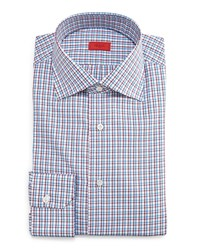 Isaia Check Button Down Dress Shirt Blue Red