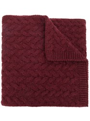 Lardini Cable Knit Scarf Red