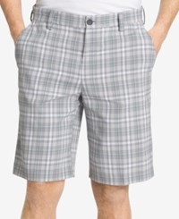 Izod Men's Plaid Flat Front Shorts High Rise