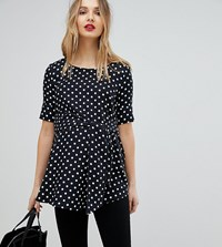 Isabella Oliver Polka Dot Top With Wrap Tie Waist Black White
