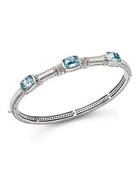Judith Ripka Triple Stone Bangle With White Sapphire And Sky Blue Crystal Blue Silver