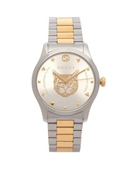 Gucci G Timeless Tiger Face Watch Silver Gold