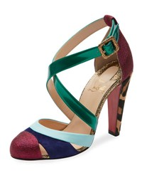 Christian Louboutin Estradouche Strappy Mixed Media Red Sole Pump Multi Multi Color