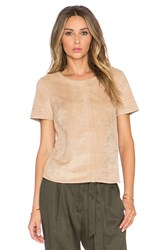1. State Faux Suede Short Sleeve Tee Beige