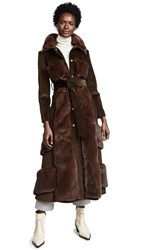 Awake A.W.A.K.E. Faux Fur And Corduroy Belted Coat Brown