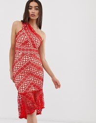 Love Triangle Lace One Shoulder Midi Dress Red