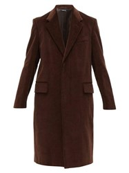 Dunhill Single Breasted Cotton Corduroy Overcoat Brown