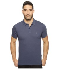 John Varvatos Striped Soft Collar Peace Polo With Peace Sign Chest Embroidery K1381t1b Deep Blue Men's Clothing