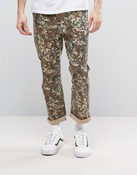 Asos Cropped Straight Trousers In Pixel Camo Print Brown