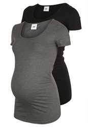 Mama Licious Sofia 2 Pack Basic Tshirt Black Grey