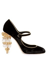 Dolce And Gabbana Chandelier Heel Velvet Pumps Black Multi