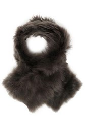 Karl Donoghue Shearling Scarf Dark Brown