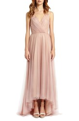 Women's Monique Lhuillier Bridesmaids Pleat Tulle V Neck High Low Gown Shell