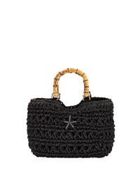 Cappelli Straworld Starfish Bamboo Handle Tote Bag Black