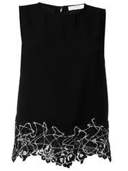 Versace Collection Lace Hem Tank Top Black