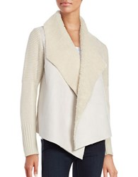 Context Sherpa Trimmed Open Front Cardigan White