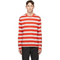 Junya Watanabe Grey And Red Horizontal Stripe T Shirt