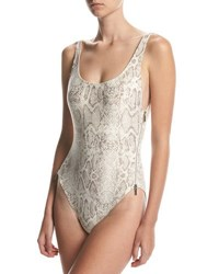 Carmen Marc Valvo U Back Side Zip One Piece Swimsuit Beige