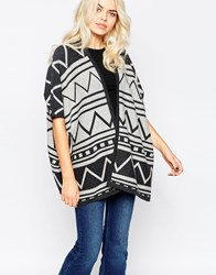 La Fee Verte Printed Poncho Style Cardigan Heather