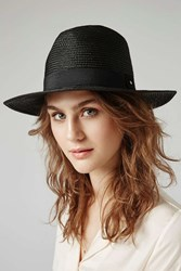 Topshop Straw Fedora Hat Black
