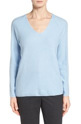 Women's Nordstrom Collection V Neck Cashmere Sweater Blue Kentucky