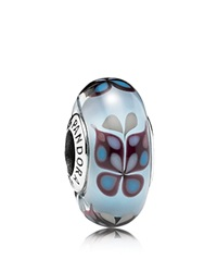 Pandora Design Pandora Charm Sterling Silver And Murano Glass Butterfly Kisses Moments Collection Silver Blue